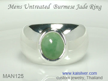 green jade gemstone ring for men
