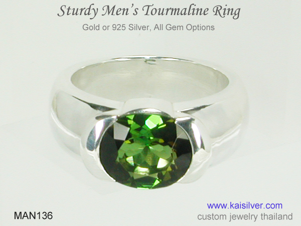 greeen gem ring for men tourmaline