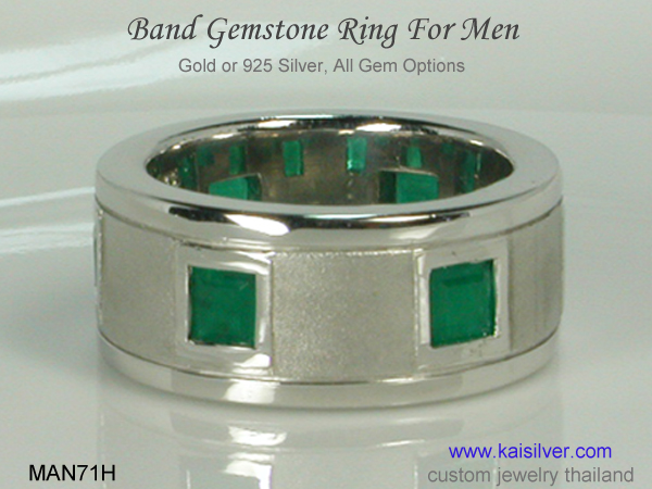 men's green gemstone ring with emerald